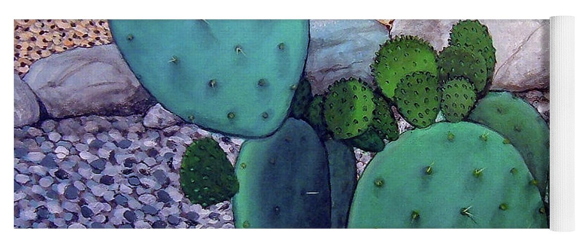 Landscape Yoga Mat featuring the painting Opuntia by Snake Jagger