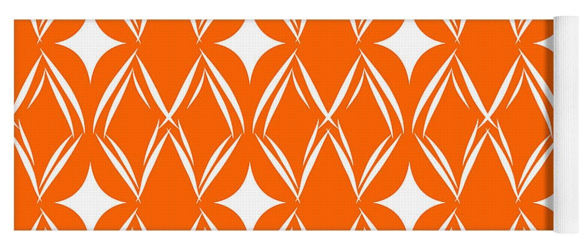 Orange Yoga Mat featuring the mixed media Orange And White Diamonds by Linda Woods