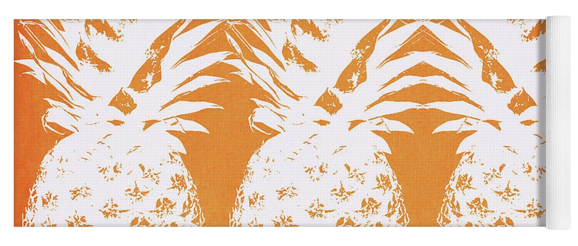 Pineapple Yoga Mat featuring the painting Orange and White Pineapples- Art by Linda Woods by Linda Woods