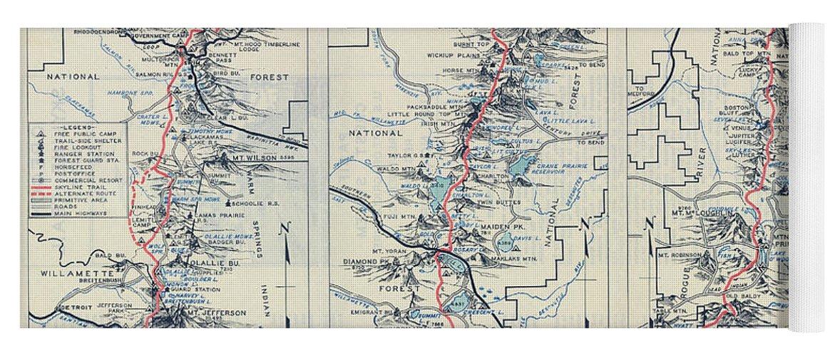 Oregon Skyline Pacific Crest Hiking Map 1936 Yoga Mat on tahiti map pacific, garbage island pacific, war in pacific, world war ii pacific, world map pacific, silestone pacific,