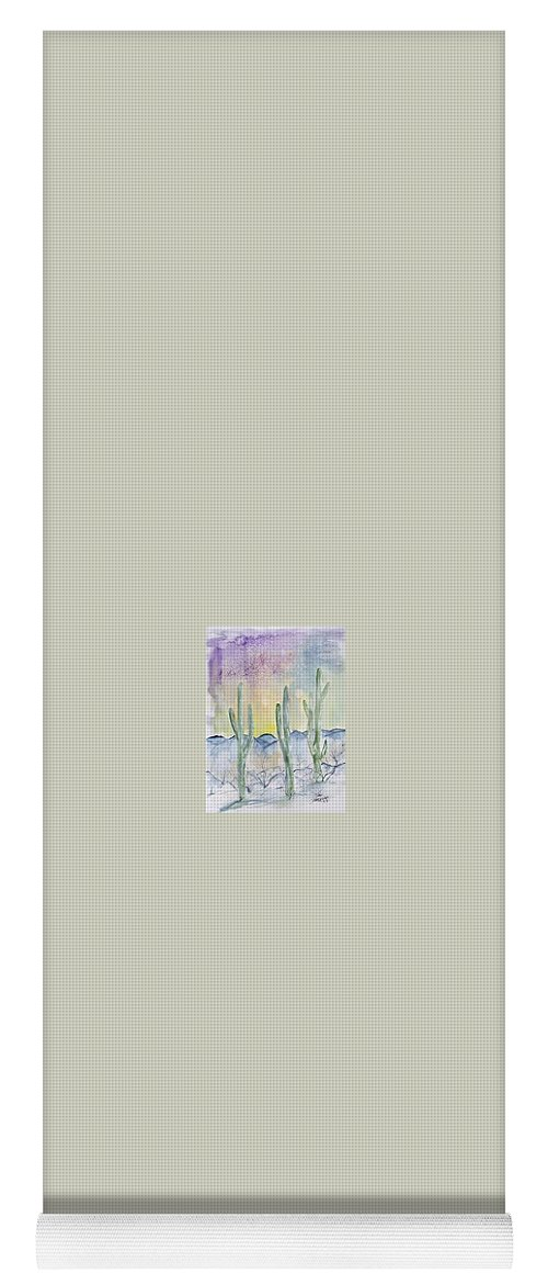 Impressionistic Yoga Mat featuring the painting Organ Pipe Cactus desert southwestern painting poster print by Derek Mccrea