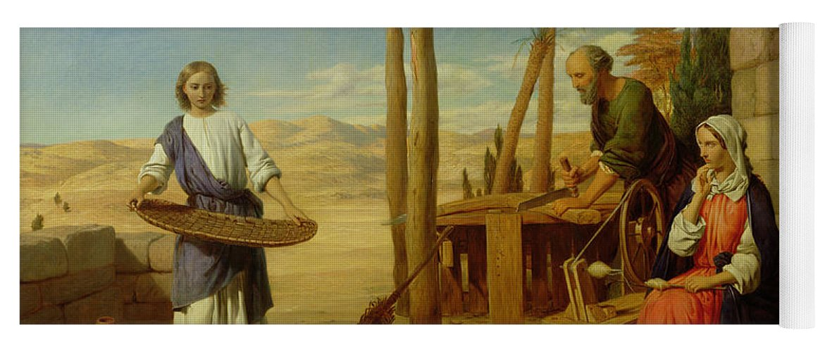 Pre-raphaelite Yoga Mat featuring the painting Our Saviour Subject To His Parents At Nazareth by John Rogers Herbert