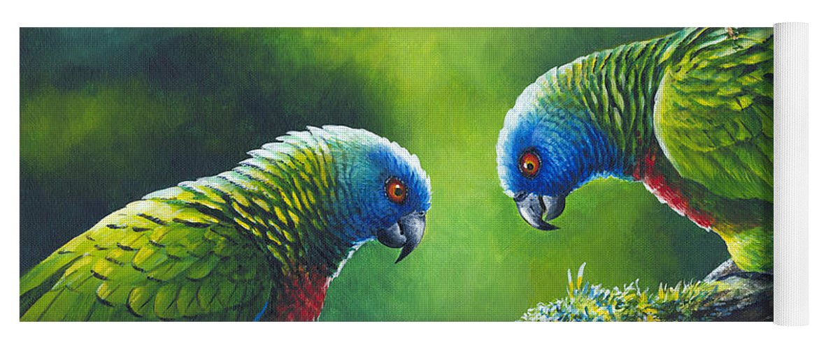 Chris Cox Yoga Mat featuring the painting Out On A Limb - St. Lucia Parrots by Christopher Cox