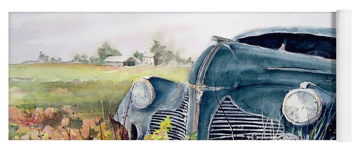 Classic Car Yoga Mat featuring the painting Out To Pasture by Sam Sidders