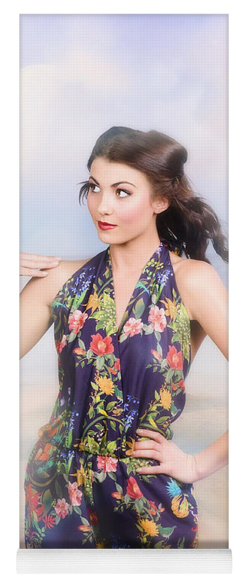 Fashion Yoga Mat featuring the photograph Outdoor Fashion Portrait. Spring Twilight Beauty by Jorgo Photography - Wall Art Gallery