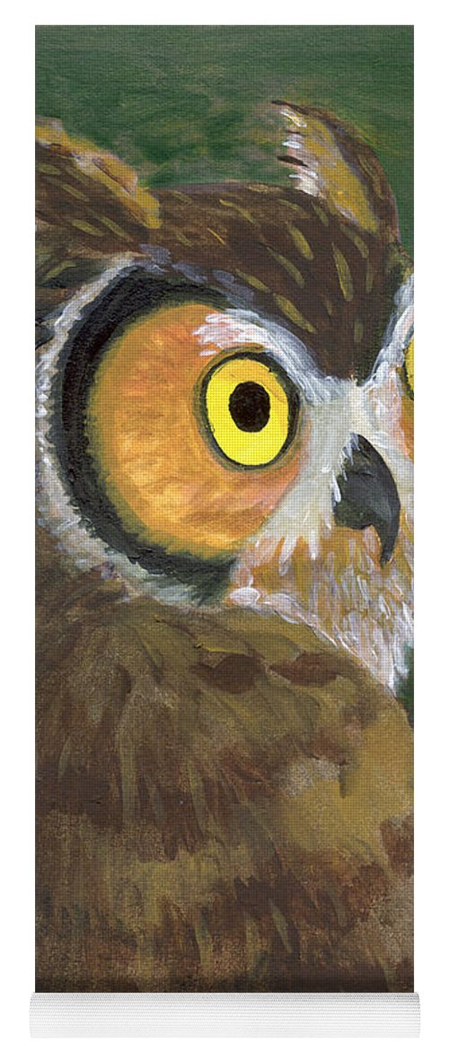 Owl Yoga Mat featuring the painting Owl 2009 by Lilibeth Andre