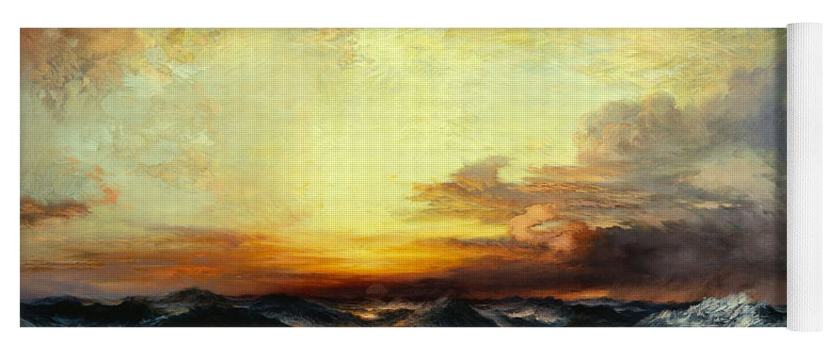 Thomas Moran Yoga Mat featuring the painting Pacific Sunset by Thomas Moran