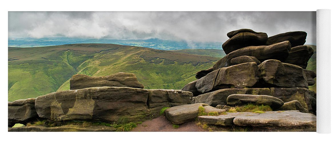 Landscape Yoga Mat featuring the photograph Pagoda #1, Kinder Scout, Peak District, North West England by Anthony Lawlor