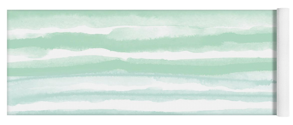 Stripes Yoga Mat featuring the mixed media Painterly Beach Stripe 2- Art By Linda Woods by Linda Woods