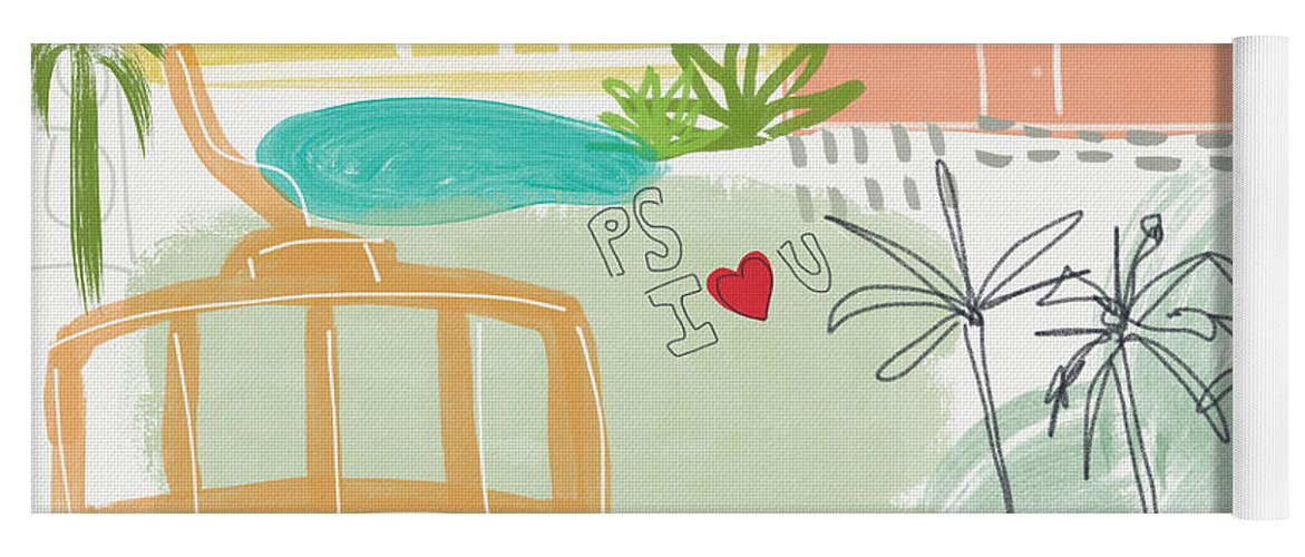 Palm Springs California Yoga Mat featuring the painting Palm Springs Cityscape- Art by Linda Woods by Linda Woods