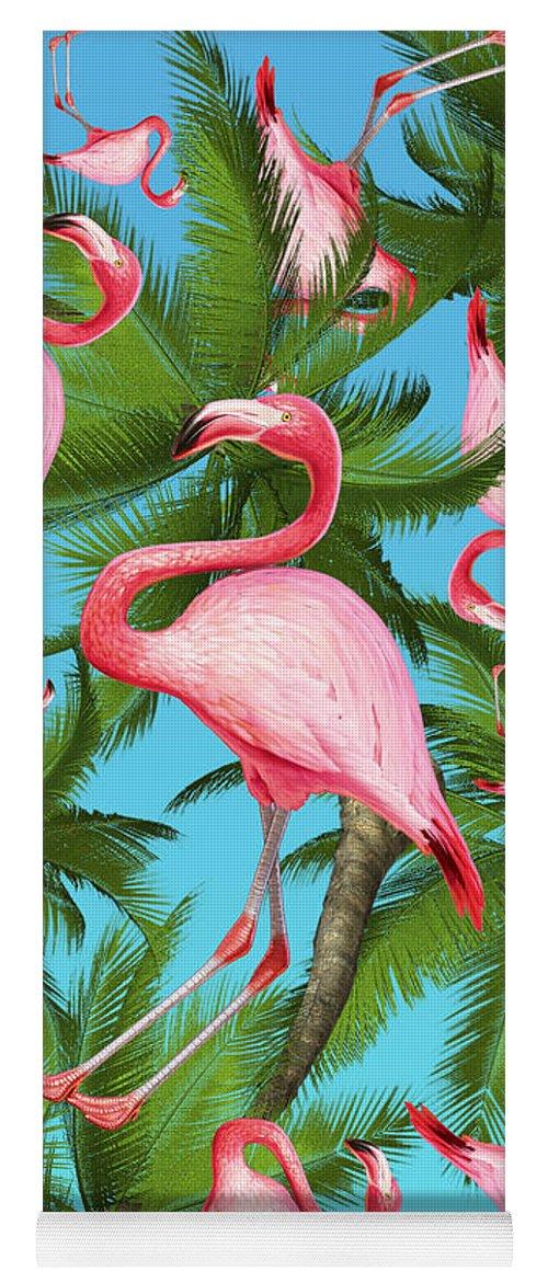 Summer Yoga Mat featuring the digital art Palm tree by Mark Ashkenazi