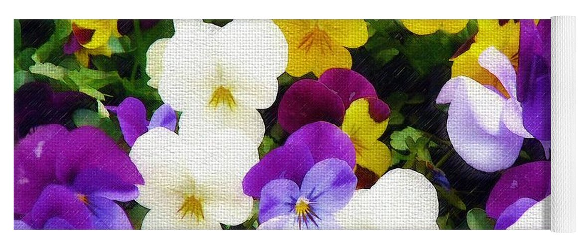 Pansies Yoga Mat featuring the photograph Pansies by Sandy MacGowan