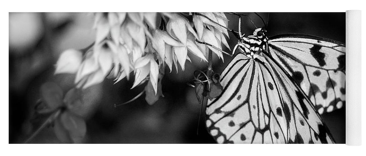 Butterfly Yoga Mat featuring the photograph Paper Kite In Black And White by Chrystal Mimbs