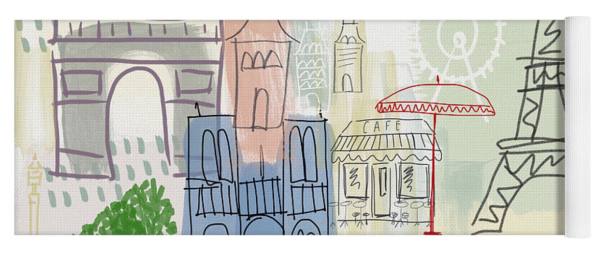 Paris Yoga Mat featuring the painting Paris Cityscape- Art By Linda Woods by Linda Woods