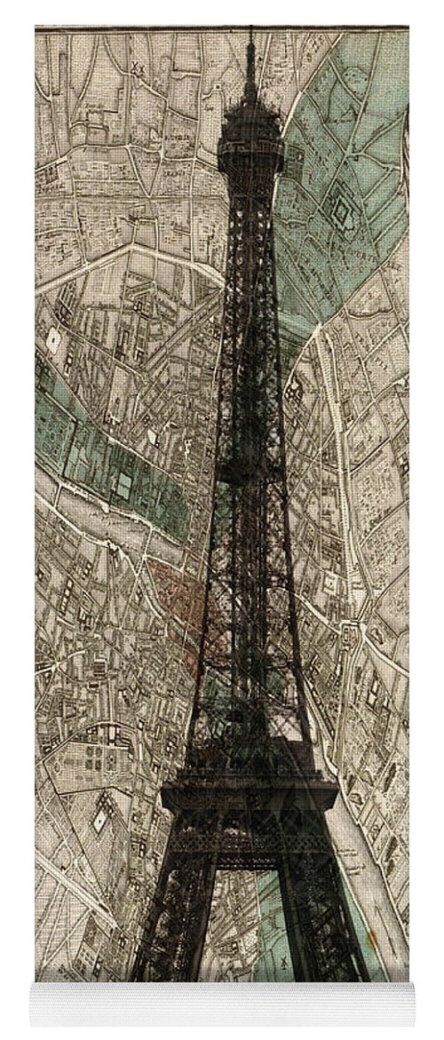 Paris Georgia Map.Paris Vintage Map And Eiffel Tower Yoga Mat For Sale By Georgia Fowler