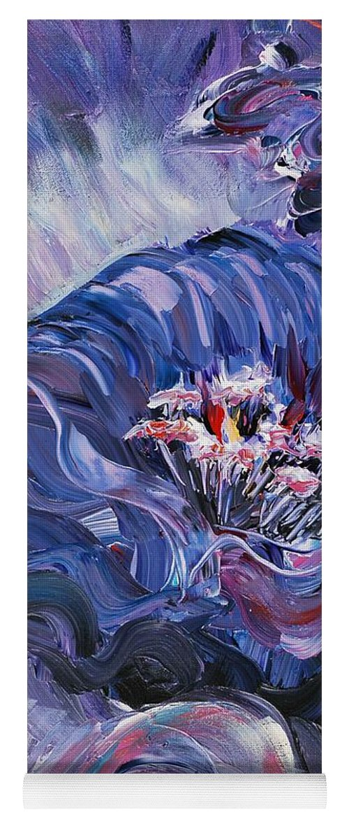 Blue Yoga Mat featuring the painting Passion in Blue by Nadine Rippelmeyer
