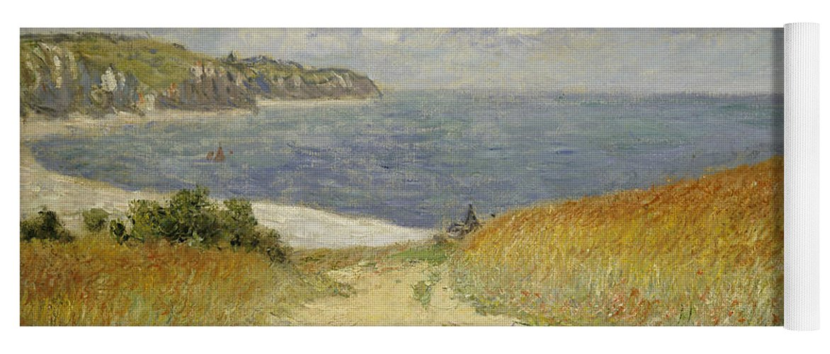 Path In The Wheat At Pourville Yoga Mat featuring the painting Path in the Wheat at Pourville by Claude Monet