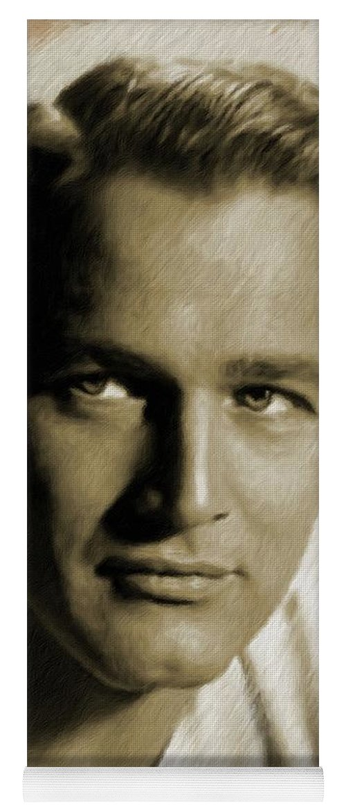 Paul Yoga Mat featuring the painting Paul Newman, Actor by Mary Bassett