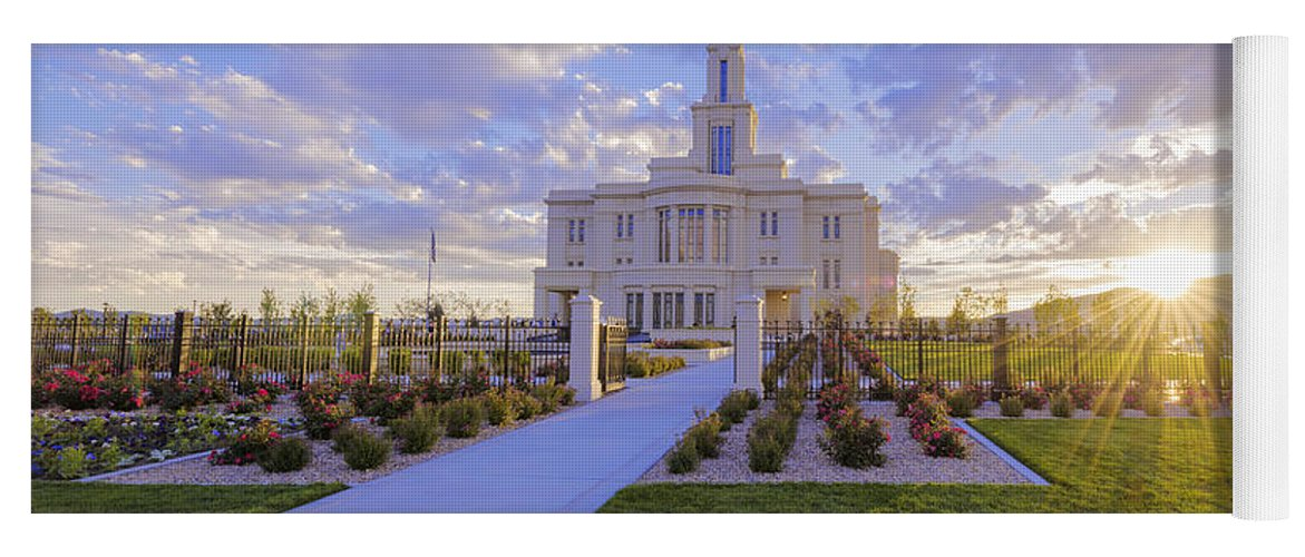 Payson Yoga Mat featuring the photograph Payson Temple I by Chad Dutson