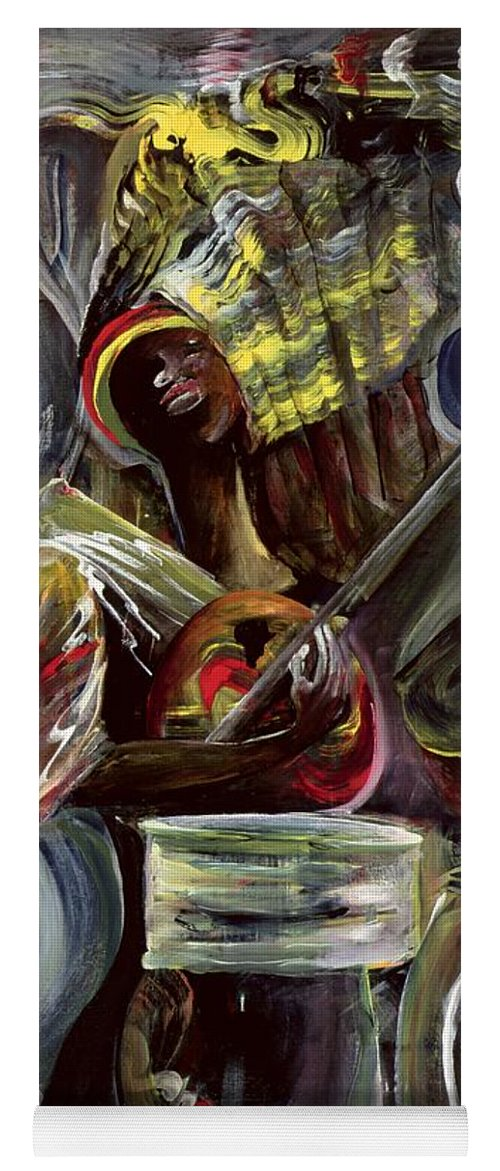 African-american Yoga Mat featuring the painting Pearl Jam by Ikahl Beckford