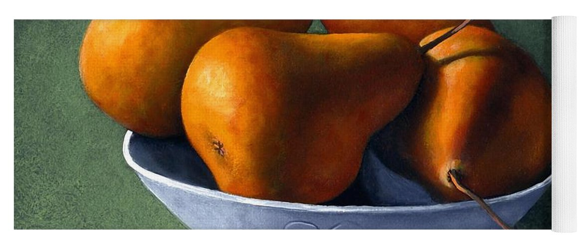 Still Life Yoga Mat featuring the painting Pears In Blue Bowl by Frank Wilson
