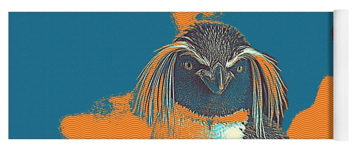 Penguin Yoga Mat featuring the painting Penguin Rockhopper by Celestial Images