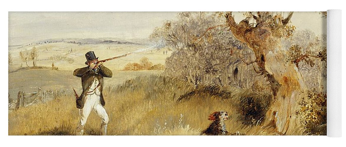 Pheasant Yoga Mat featuring the painting Pheasant Shooting by Henry Thomas Alken