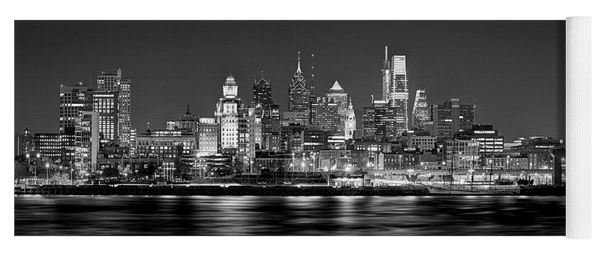 Philadelphia Skyline At Night Yoga Mat featuring the photograph Philadelphia Philly Skyline At Night From East Black And White Bw by Jon Holiday