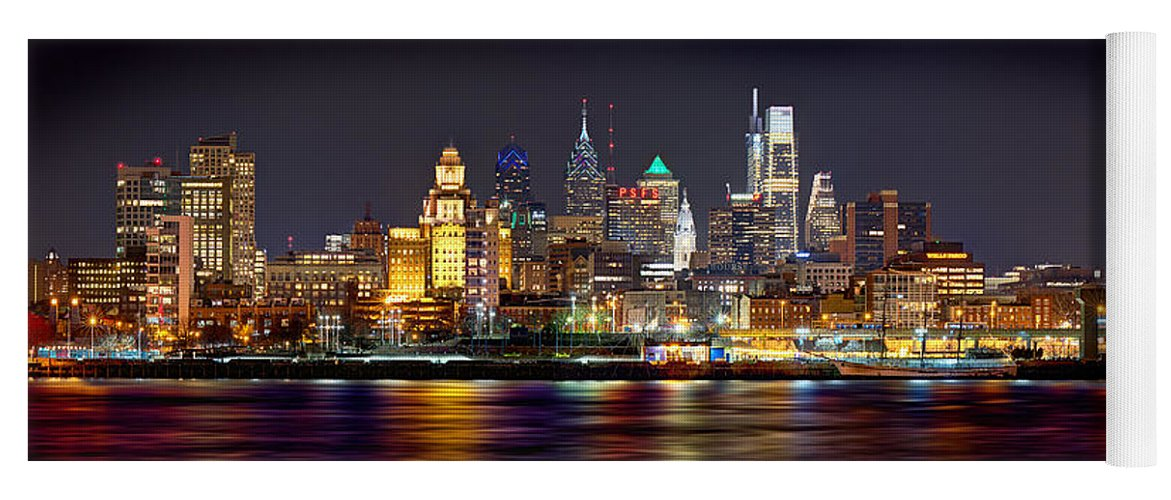 Philadelphia Skyline At Night Yoga Mat featuring the photograph Philadelphia Philly Skyline At Night From East Color by Jon Holiday