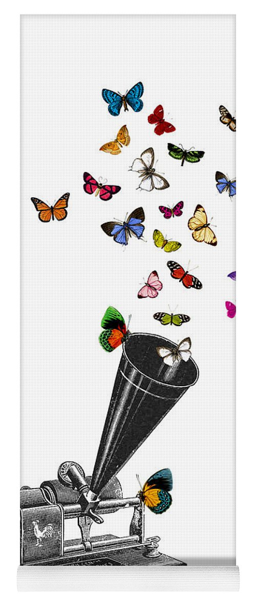 Phonograph Yoga Mat featuring the digital art Phonograph And Butterflies Print by Madame Memento