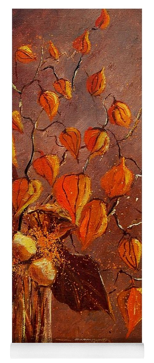 Poppies Yoga Mat featuring the painting Physialis by Pol Ledent