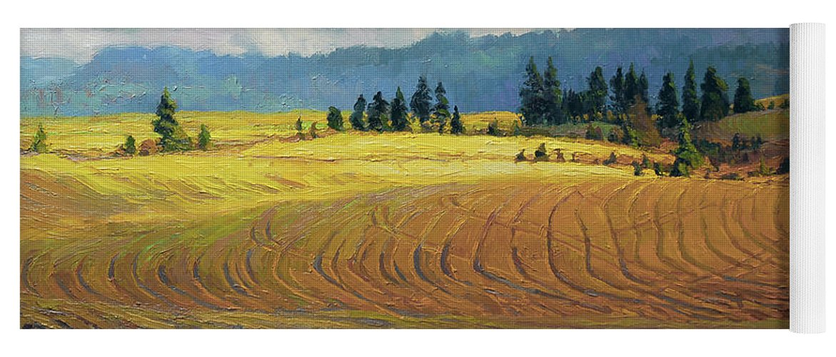 Country Yoga Mat featuring the painting Pine Grove by Steve Henderson