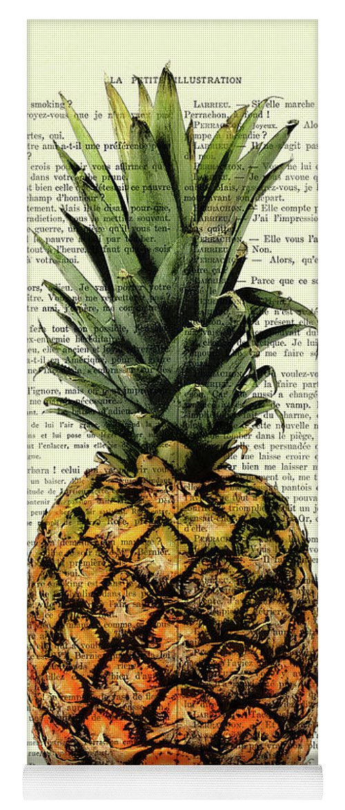 Pineapple Yoga Mat featuring the digital art Pineapple In Color Illustration by Madame Memento