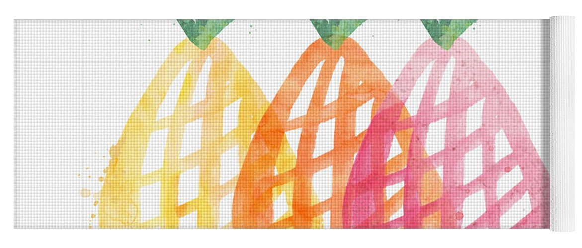 Pineapple Yoga Mat featuring the painting Pineapple Trio by Linda Woods