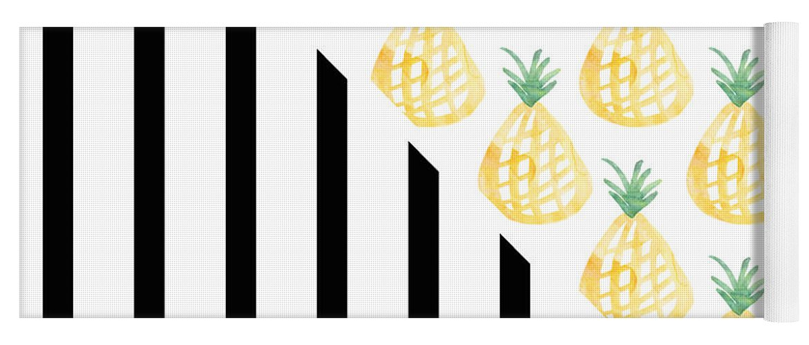 Pineapple Yoga Mat featuring the mixed media Pineapples and Stripes by Linda Woods