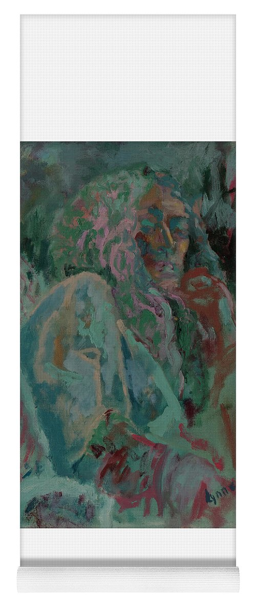 Portrait Yoga Mat featuring the painting Pink And Green Portrait by Lynne Guess