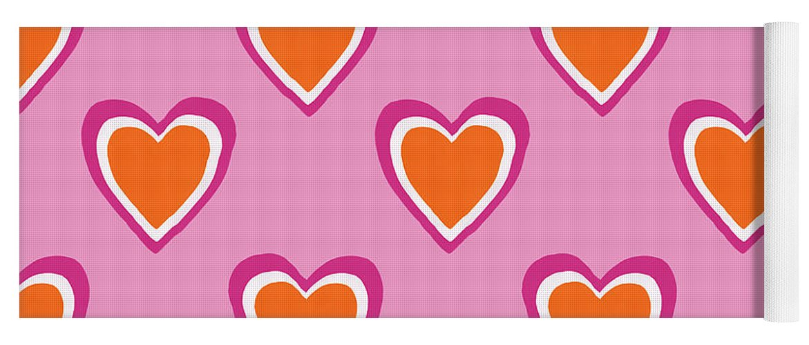 Hearts Yoga Mat featuring the mixed media Pink And Orange Hearts- Art by Linda Woods by Linda Woods