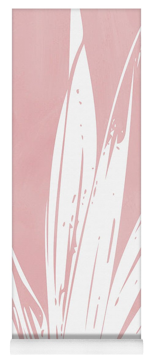 Leaf Yoga Mat featuring the mixed media Pink and White Tropical Leaf- Art by Linda Woods by Linda Woods