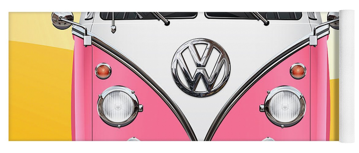 'volkswagen Type 2' Collection By Serge Averbukh Yoga Mat featuring the photograph Pink and White Volkswagen T 1 Samba Bus on Yellow by Serge Averbukh