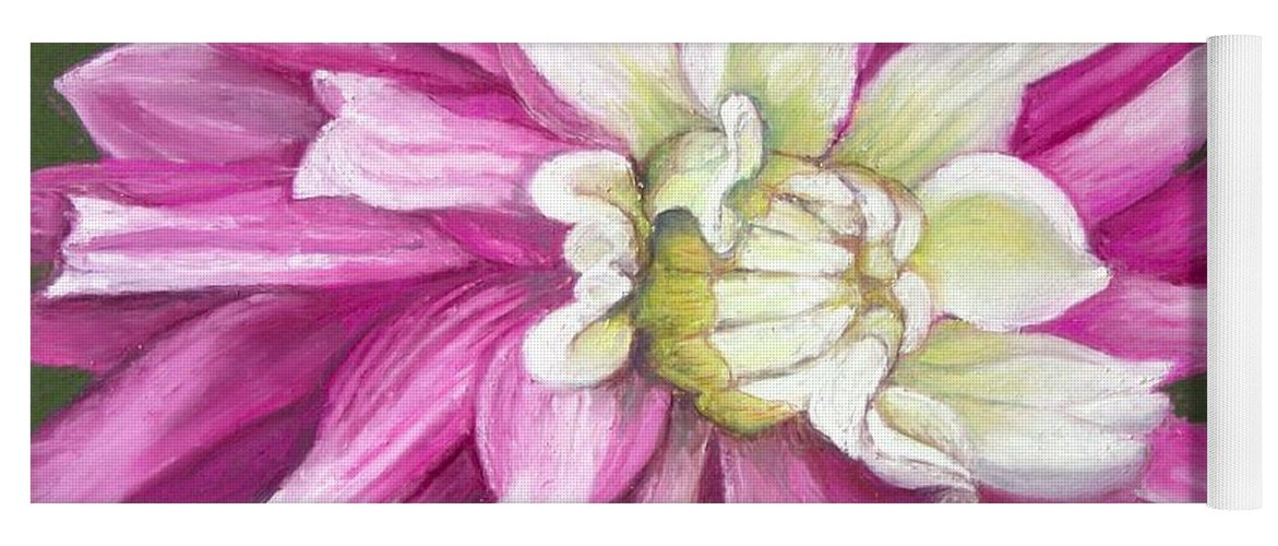 Floral Yoga Mat featuring the painting Pink Petal Blast by Minaz Jantz