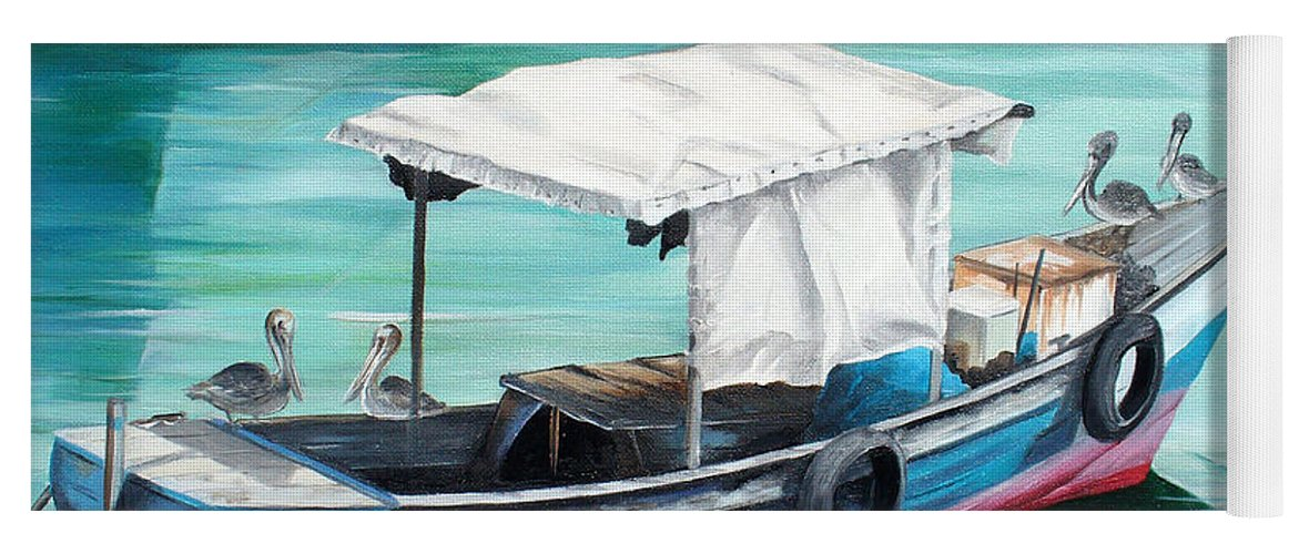 Fishing Boat Painting Seascape Ocean Painting Pelican Painting Boat Painting Caribbean Painting Pirogue Oil Fishing Boat Trinidad And Tobago Yoga Mat featuring the painting Pirogue Fishing Boat by Karin Dawn Kelshall- Best