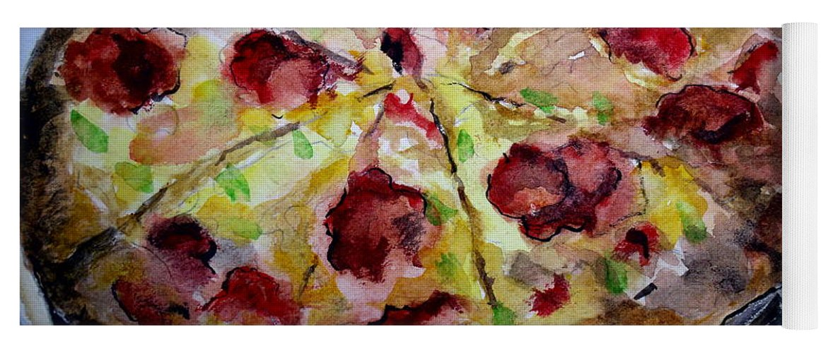 Pizza Yoga Mat featuring the painting Pizzas Here by Carol Grimes