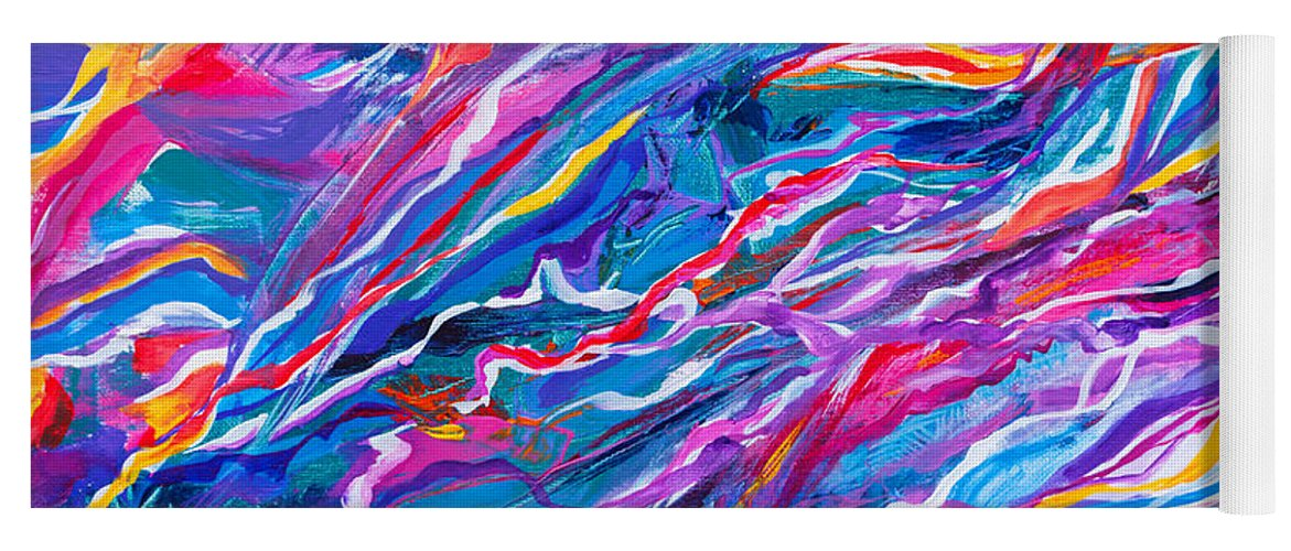 Filaments Lines Strokes Rushing Water Full Of Vibrant Color And Dynamic Movement Energy Contemporary Original Abstract Yoga Mat featuring the painting Playful stream by Priscilla Batzell Expressionist Art Studio Gallery