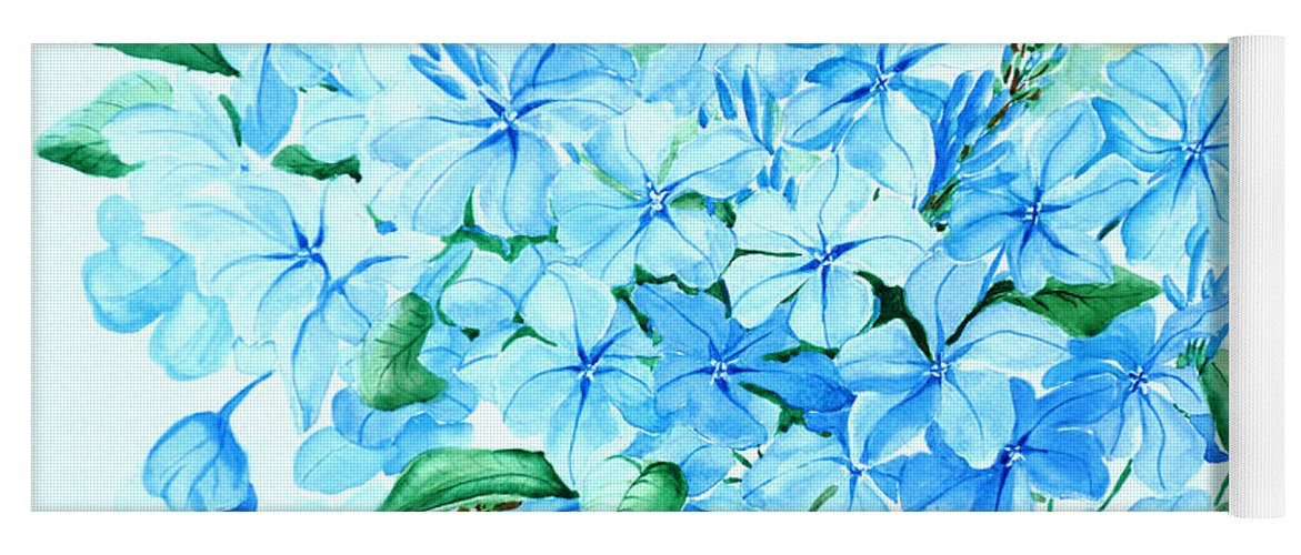 Floral Blue Painting Plumbago Painting Flower Painting Botanical Painting Bloom Blue Painting Yoga Mat featuring the painting Plumbago by Karin Dawn Kelshall- Best