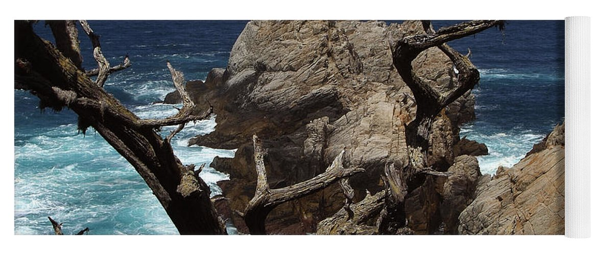 Carmel Yoga Mat featuring the photograph Point Lobos Rocks and Branches by Charlene Mitchell