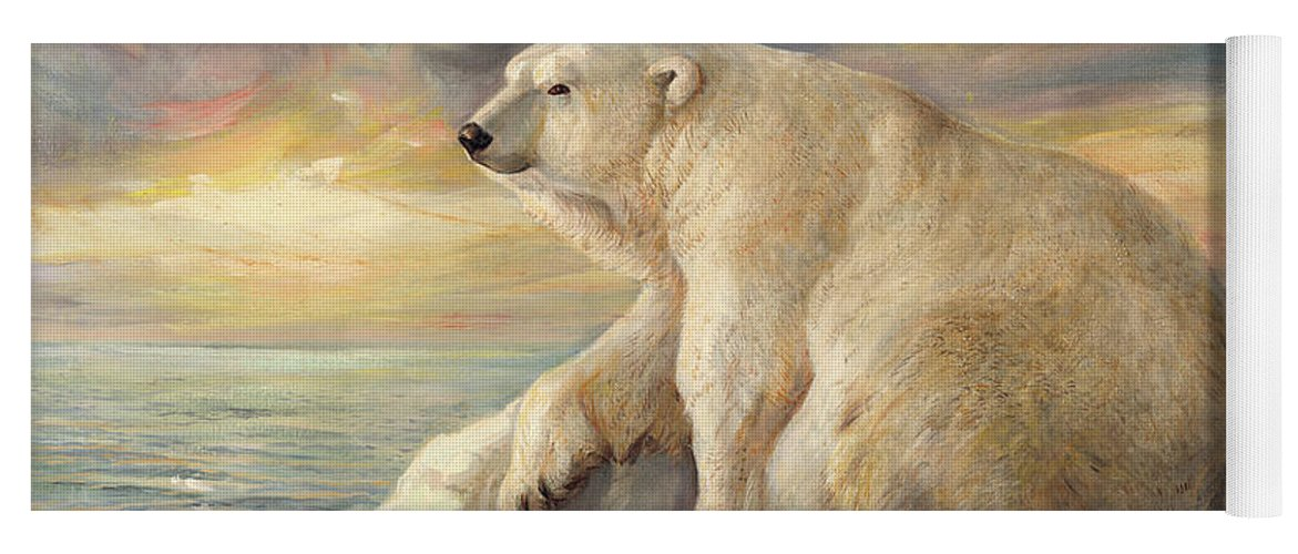 Polar Bear Yoga Mat featuring the painting Polar Bear Rests On The Ice - Arctic Alaska by Svitozar Nenyuk