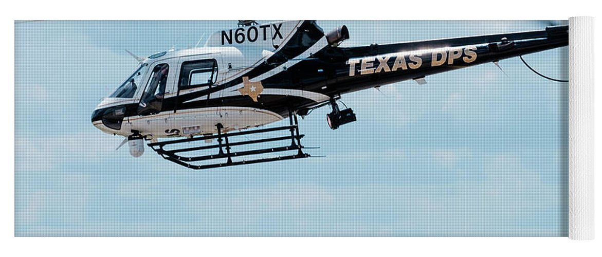 Eurocopter As350 Yoga Mat featuring the photograph Police Helicopter Taking Off by Philip Duff