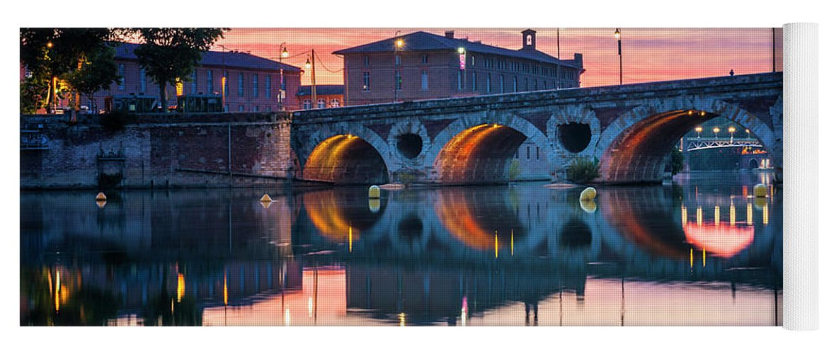 Pont Neuf Yoga Mat featuring the photograph Pont Neuf In Toulouse At Sunset by Elena Elisseeva