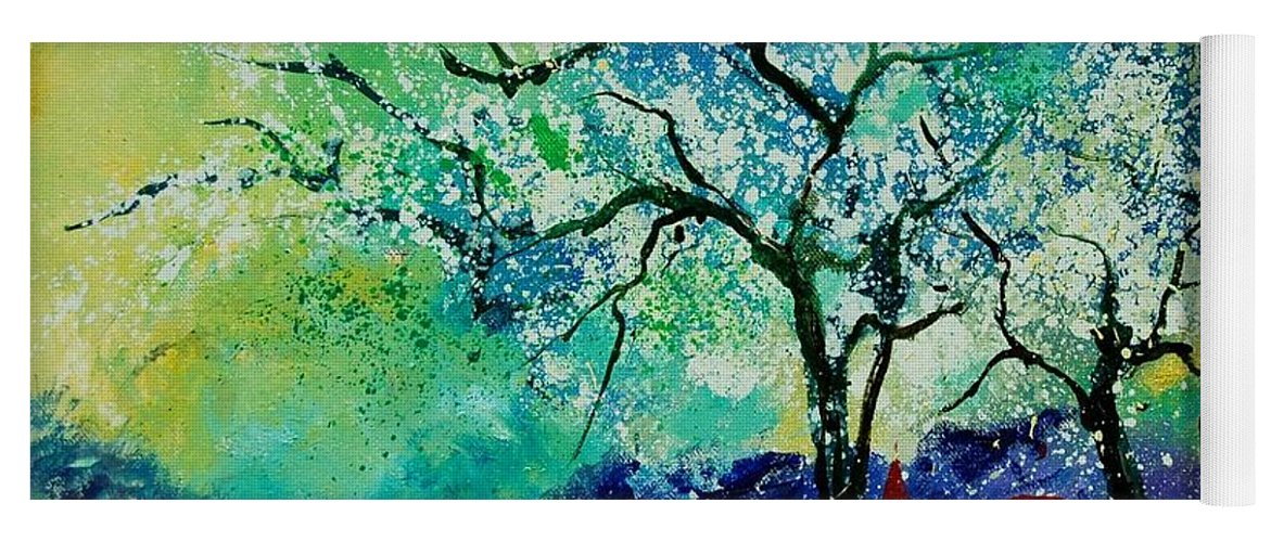 Landscape Yoga Mat featuring the painting Poppies and appletrees in blossom by Pol Ledent