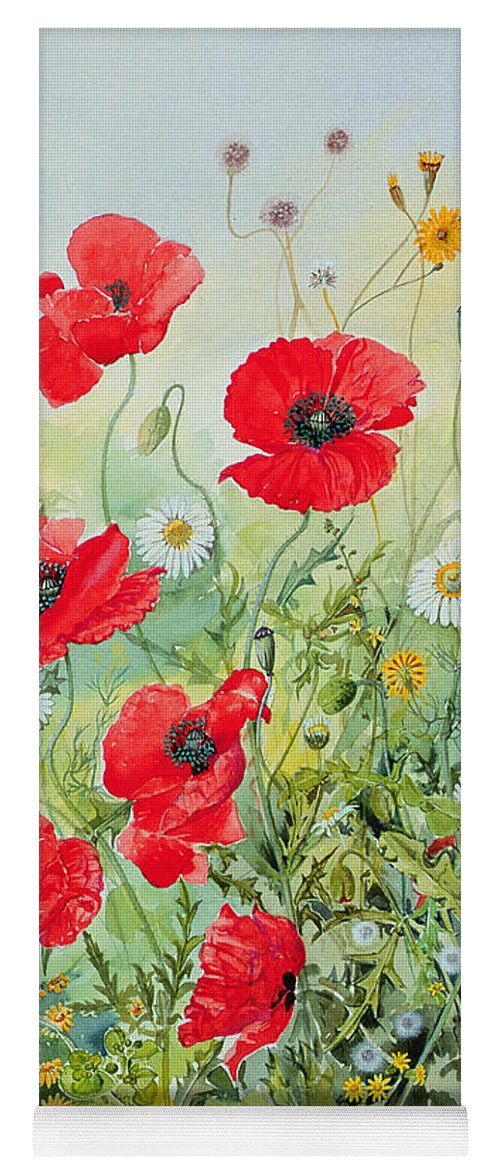 Flowers; Botanical; Flower; Poppies; Mayweed; Leaf; Leafs; Leafy; Flower; Red Flower; White Flower; Yellow Flower; Poppie; Mayweeds Yoga Mat featuring the painting Poppies And Mayweed by John Gubbins